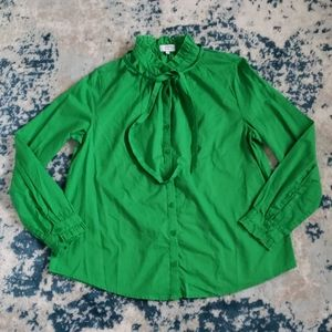 Crown & Ivy tie ruffleneck blouse